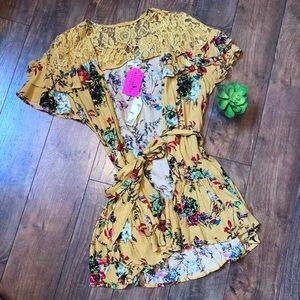 Entro yellow floral kimono NWT size large
